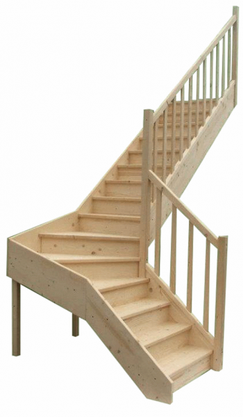 Holztreppe L-Form individuell planbar